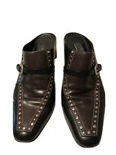Brighton Womens Tempe  Sz 8.5 M Mules Black & Brown Leather Studs Slide Heels