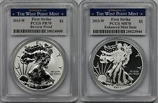 2013-W Silver Eagle Set Reverse PR 70 + MS 70 PCGS West Point Mint First Srike