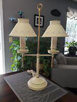 Vintage Double 2 Arm Socket Metal Tole Toleware Bouillotte Student Desk Lamp