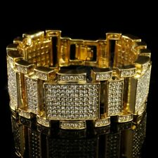 14k Gold Flooded Out Iced MicroPave Lab Diamond Mens Bling Adjustable Bracelet