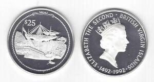 BRITISH VIRGIN ISLANDS SILVER PROOF 25$ COIN 1992 YEAR KM#110 SHIP COLUMBUS