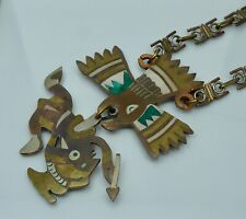 Mexican Copper Silver Eagle Warrior Modernist Vintage Necklace Brass Large Aztec
