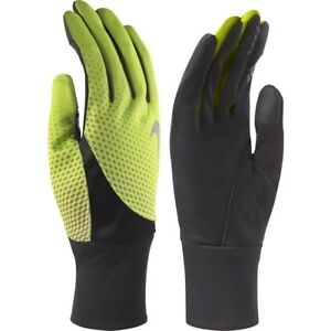 New Nike Mens Tailwind Dri-Fit Conductive Touch Athletic Gloves Volt / Black