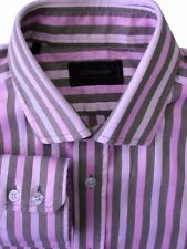 DUCHAMP LONDON Shirt Mens 15.5 M Brown & Pink Stripes