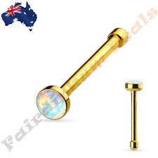 316L Surgical Steel Gold Ion Plated White Opal Set Flat Top Nose Stud