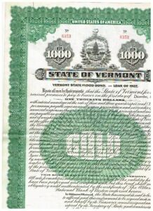 State of Vermont, 1927, $ 1000 Gold Bond, cancelled, VF