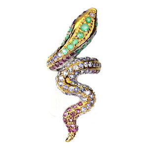 Unheated Round Emerald Rhodolite Garnet Gems 925 Sterling Silver Cobra Ring 8