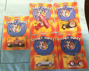 Lot Of 5- 1989 ERTL Looney Tunes Vehicles Bugs Bunny, Daffy Duck, Porky Pig, etc