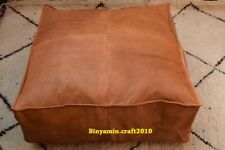 Square Ottoman Footstool Large Pouf ottoman  Foot stool Genuine Leather