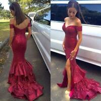 Burgundy Mermaid Sequins Evening Dress Prom Dress with Slit Party Formal Gown