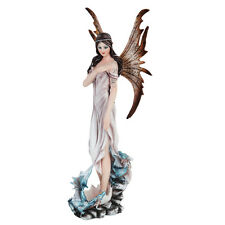 Tribal Fairy in White w Dragons Figurine Statue Faery Collection Mystical Magic