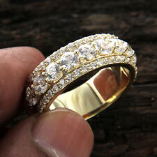2.00 Ct Round Cut Diamond 10k Yellow Gold Eternity Wedding Band Ring for Men's