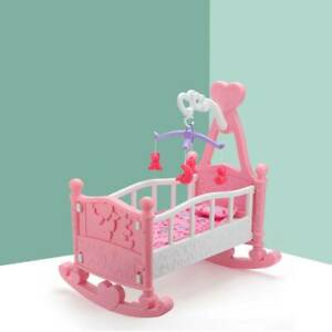 Pink Toy Creative Baby Gifts Dolls Rocking Cradle Bed With Blanket & Pillow