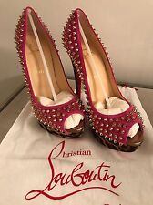 christian louboutin Pink And Leopard Studded Heels 40
