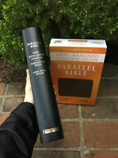LARGE PRINT! Black Leather NKJV & Classic Amplified 1987 AMPC Parallel Bible
