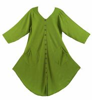 BeautyBatik Avocado green Women Lagenlook Long Sleeve Plus Size Vest Tunic Top