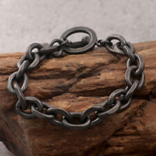 Stainless steel Black vintage jewelry Link chain bracelet bangle for Mens 19cm