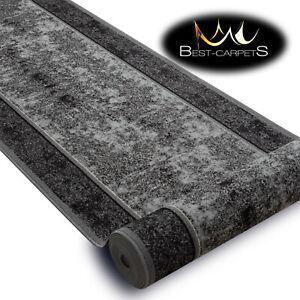 THICK Runner Rugs, 'STARK' grey modern NON-slip Stairs Width 67-100cm extra long