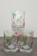 NEW (4) Elegant Pink Flamingo Palm Tree Whisky Glasses Home Kitchen Decor