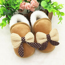 Winter Toddler Newborn Baby Girls Bowknot Soft Sole Boots Prewalker Warm Shoes