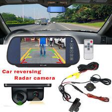 """7"""" LCD Mirror Rear View Monitor & Reverse Parking Camera + Radar Sensor System"""