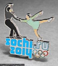 OLYMPIC PINS BADGE 2014 SOCHI RUSSIA CUT OUT SPORT OF FIGURE SKATING (SILVER )