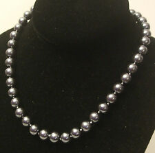 10MM Shiney Black AAA South Sea Shell Pearl Necklace NEW (silk gift bag)