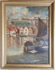 Abbey Wharf Whitby. Oil by listed Yorkshire artist Alfred George Morgan, c1890