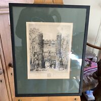 Vintage Trinity College Cambridge Engraving Print Framed Glazed