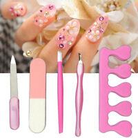 5Pcs/set Nail Art File Tool Cuticle Remover Dead Skin Fork Manicure Pedicure Kit
