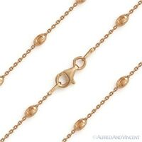 3mm Moon Cut & Anchor Link Sterling Silver 14k Rose Gold Italian Chain Necklace