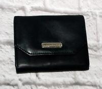 Liz Claiborne Wallet Genuine Black Leather Clutch Kisslock Coin Card Bifold