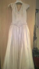 VINTAGE SIZE 10 CLASSIC SILK IVORY TAFFETA FULL LENGTH GOWN w TRAIN