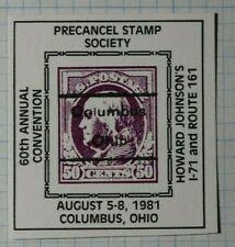 Precancel Stamp Society Convention 1981 50c Postage Philatelic Souvenir Ad Label
