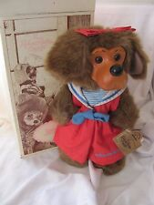 Raikes Applause Jessica girl brown puppy dog NOS 1992 NIB wood face Retail $70