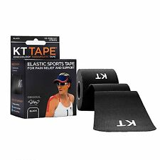 KT TAPE Original Cotton Elastic Kinesiology Therapeutic Tape Black 10 inch 20ct
