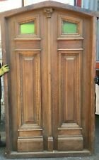 Solid wood double entry door with stained glass windows