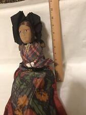 Folk Art Cloth Grandma/Woman Figure in Wood Rocker Handmade Primitive