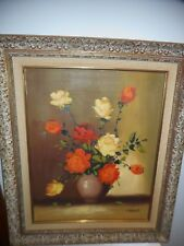 VINTAGE FRAMED & SIGNED FLORAL PAINTING - GREAT ORNATE FRAME & LOVELY PAINTING!