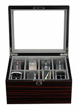 8 BELT DISPLAY CASE BLACK WOOD TIES MENS ACCESSORIES STORAGE BOX FATHERS GIFT