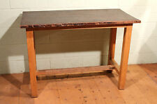 Reclaimed 'ESA McIntosh' School Lab Mahogany Top Tables With Maple Legs