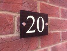 LUMINOUS MODERN HOUSE SIGN PLAQUE GLOSS BLACK DOOR NUMBER