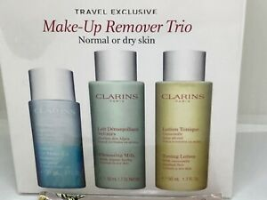 CLARINS MAKE-UP REMOVER TRIO NORMAL OR DRY SKIN REMOVER, MILK LOTION SEALED BOX