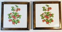 Vintage 60's/70's Mexican Tile Trivet Wood Frame Strawberry Blossom Berries Leaf