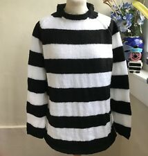 Black and White Hand Knitted Stripey jumper by Bexknitwear