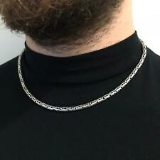 4mm 925 Sterling Silver Mens Round Byzantine Oxide Necklace Chain 20Inch 46GR