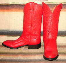 Mens Vintage Nocona Red Calfskin Leather Cowboy Boots 9 B Very Good Used Cond