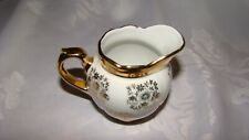"Vintage GKC Bavaria Small Creamer 3"" Floral Embellishments White And Gold"