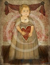 Primitive Valentine Girl Heart Be My Love Laser Print 8x10