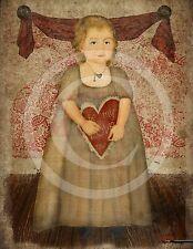 Primitive Valentine Girl Heart Be My Love Laser Print 8x10